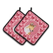 The Holiday Aisle Collie Smooth Hearts Love and Valentine's Day Portrait Potholder (Set of 2)