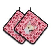 Chihuahua Hearts Love and Valentine's Day Pink Patterned Portrait Potholder (Set of 2)
