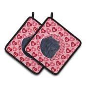 The Holiday Aisle Chow Chow Hearts Love and Valentine's Day Patterned Portrait Potholder (Set of 2)