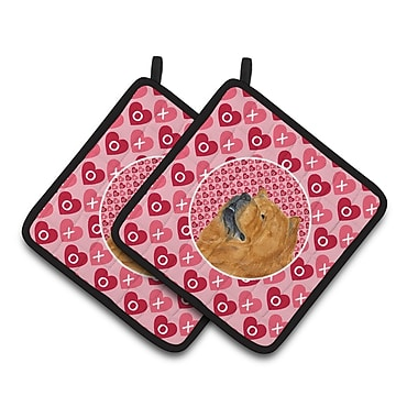 The Holiday Aisle Chow Chow Hearts Love and Valentine's Day Portrait Potholder (Set of 2)