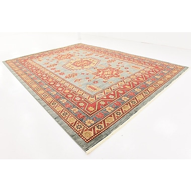 World Menagerie Valley Red/Light Blue Area Rug; Rectangle 10'6'' x 16'5''