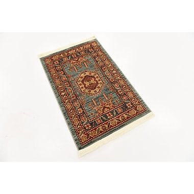 World Menagerie Valley Red/Light Blue Area Rug; 3' x 2'2''