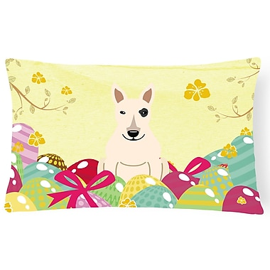 The Holiday Aisle Easter Eggs Bull Terrier Indoor/Outdoor Lumbar Pillow