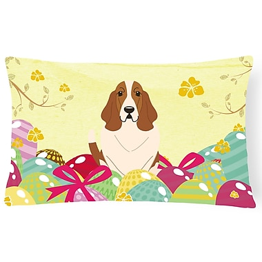The Holiday Aisle Easter Eggs Basset Hound Lumbar Pillow