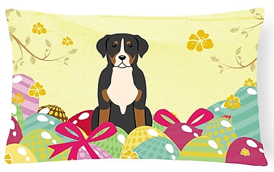 The Holiday Aisle Easter Eggs Greater Swiss Mountain Dog Lumbar Pillow