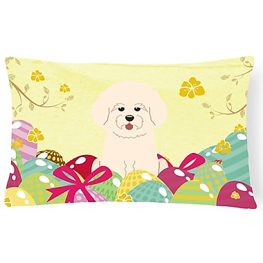 The Holiday Aisle Easter Eggs Bichon Frise Lumbar Pillow