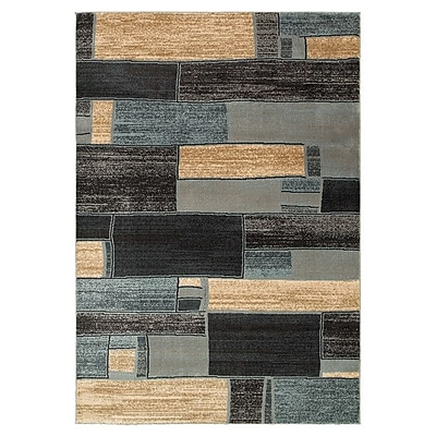 Williston Forge Carver Oblong Blocks Blue & Ivory Area Rug; 5'1'' x 7'5''