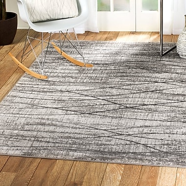 Williston Forge Scott Glamour Waves Gray Area Rug; 5'3'' x 7'2''