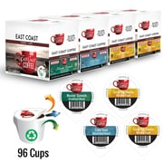 East Coast Coffee Favorites Organic Keurig Compatible Refills, Variety Pack, Fair Trade, Recyclable, 96/Pack (VARIETY96ORGANI)