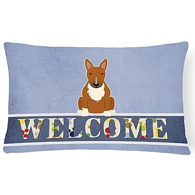 Red Barrel Studio Rowes Bull Terrier Welcome Lumbar Pillow; Brown