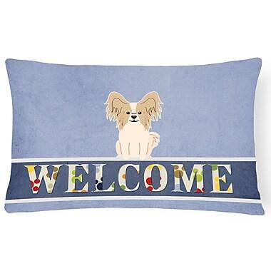 Red Barrel Studio Raubsville Papillon Welcome Lumbar Pillow; White