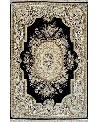 American Home Rug Co. French Elegance Aubusson Oriental Hand-Tufted Wool Black/Ivory Area Rug