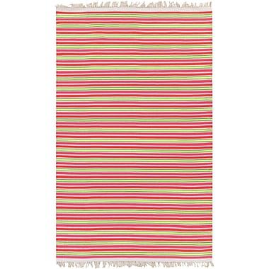 Harriet Bee Carissa Ivory/Hot Pink Stripe Area Rug; 8' x 10'