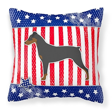The Holiday Aisle Patriotic USA German Pinscher Indoor/Outdoor Throw Pillow; 14'' H x 14'' W x 3'' D