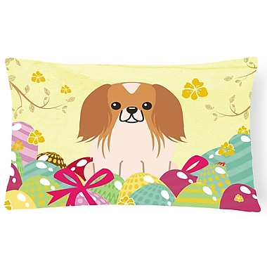 The Holiday Aisle Easter Eggs Pekingnese Lumbar Pillow; Brown/White