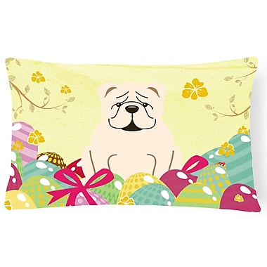The Holiday Aisle Easter Eggs English Bulldog Lumbar Pillow; White