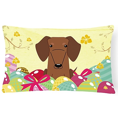 The Holiday Aisle Easter Eggs Dachshund Lumbar Pillow; Brown
