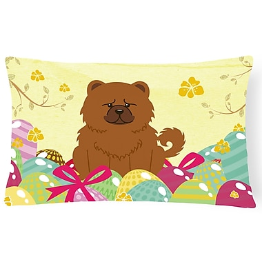 The Holiday Aisle Easter Eggs Chow Chow Lumbar Pillow; Brown