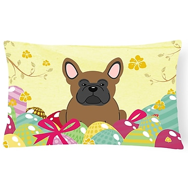 The Holiday Aisle Easter Eggs French Bulldog Lumbar Pillow; Brown