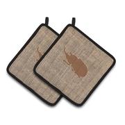 August Grove Jasper Beetle Square Potholder (Set of 2); Brown