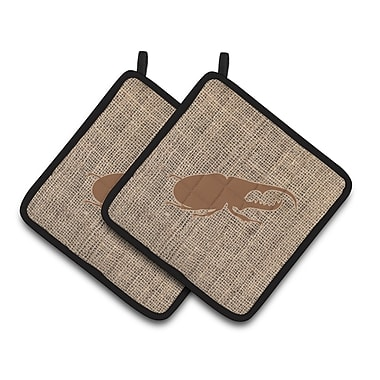 August Grove Jasper Beetle Potholder (Set of 2); Brown