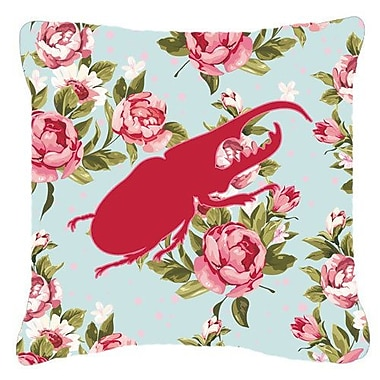 August Grove Jasper Beetle Shabby Elegance Blue Roses Indoor/Outdoor Throw Pillow