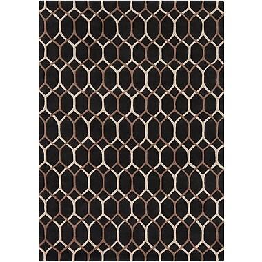 Everly Quinn Nikisha Black Geometric Rug; 5' x 7'