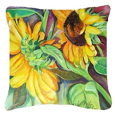 August Grove Landon Square Sunflowers Indoor/Outdoor Fabric Throw Pillow; 18'' H x 18'' W x 5.5'' D