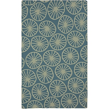 Highland Dunes Byington Coastal Moss/Teal Area Rug; 2' x 3'