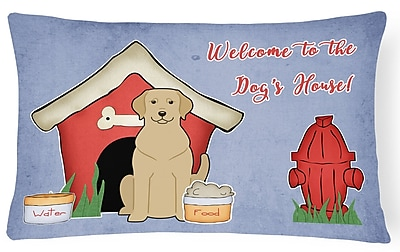 East Urban Home Wildlife Dog House Indoor/Outdoor Fabric Lumbar Pillow; Yellow