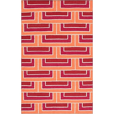 Ivy Bronx Durgan Hand-Woven Red/Orange Area Rug; 8' x 11'