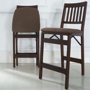 Red Barrel Studio Emington Folding Barstools w/ Cushion (Set of 2); Dark Brown