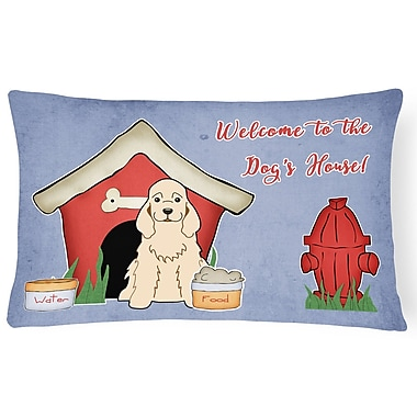 East Urban Home Wildlife Dog House Handmade Indoor/Outdoor Fabric Lumbar Pillow; Buff