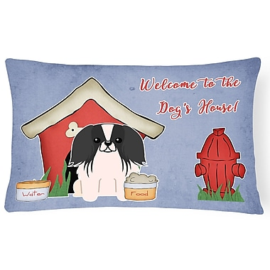 East Urban Home Wildlife Dog House Solid Indoor/Outdoor Lumbar Pillow; Black/White