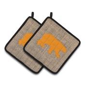 Loon Peak Butterfield Bear Potholder (Set of 2); Brown