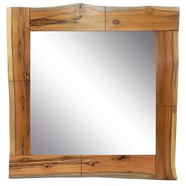 Loon Peak Square Live Edge Teak Wood Accent Mirror; Natural