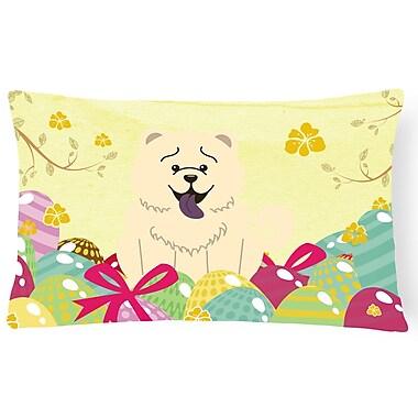 The Holiday Aisle Easter Eggs Rectangular Chow Chow Lumbar Pillow; White