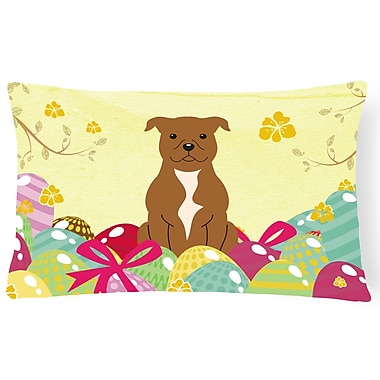 The Holiday Aisle Easter Eggs Staffordshire Bull Terrier Lumbar Pillow; Brown
