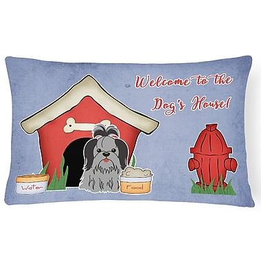 East Urban Home Wildlife Dog House Contemporary Indoor/Outdoor Lumbar Pillow; Black/Silver