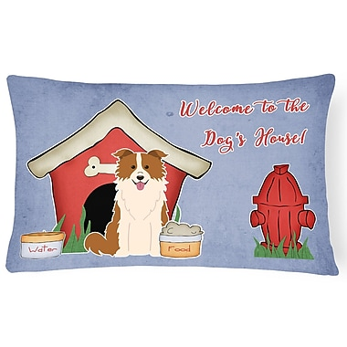 East Urban Home Wildlife Dog House Modern Solid Indoor/Outdoor Lumbar Pillow; Red/White