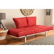 Ebern Designs Everett Convertible Lounger Futon and Mattress; Suede Red