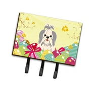 The Holiday Aisle Easter Eggs Contemporary Shih Tzu Leash or Key Holder; Silver/White