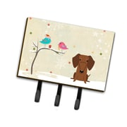 The Holiday Aisle Christmas Dachshund Leash or Key Holder; Brown/Black