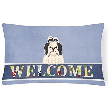 Red Barrel Studio Rennerdale Shih Tzu Welcome Lumbar Pillow; Black/White