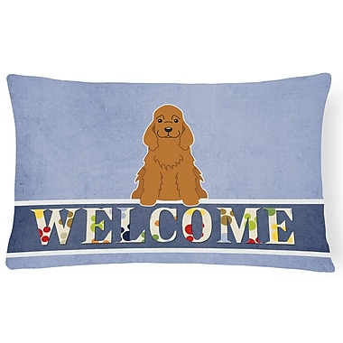 Red Barrel Studio Reynoldsville Cocker Spaniel Welcome Lumbar Pillow; Brown