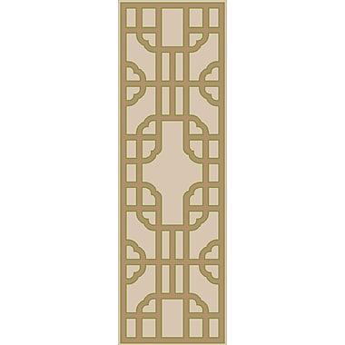 Bay Isle Home Elsmere Beige/Taupe Geometric Hand Woven Area Rug; Runner 2'6'' x 8'