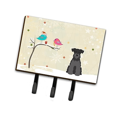 The Holiday Aisle Christmas Miniature Schnauzer Leash or Key Holder; Black/Gray