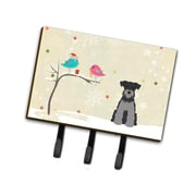 The Holiday Aisle Christmas Miniature Schnauzer Leash or Key Holder; Black/Light Gray