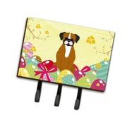 The Holiday Aisle Easter Eggs Fawn Boxer Leash or Key Holder; Brown/White