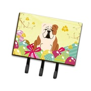 The Holiday Aisle Easter Eggs English Bulldog Rectangle Metal Leash or Key Holder; Brow/Cream